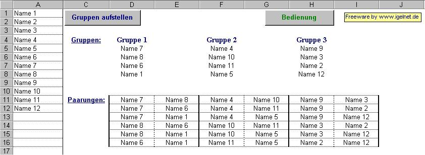 Screenshot für Gruppenauslosung